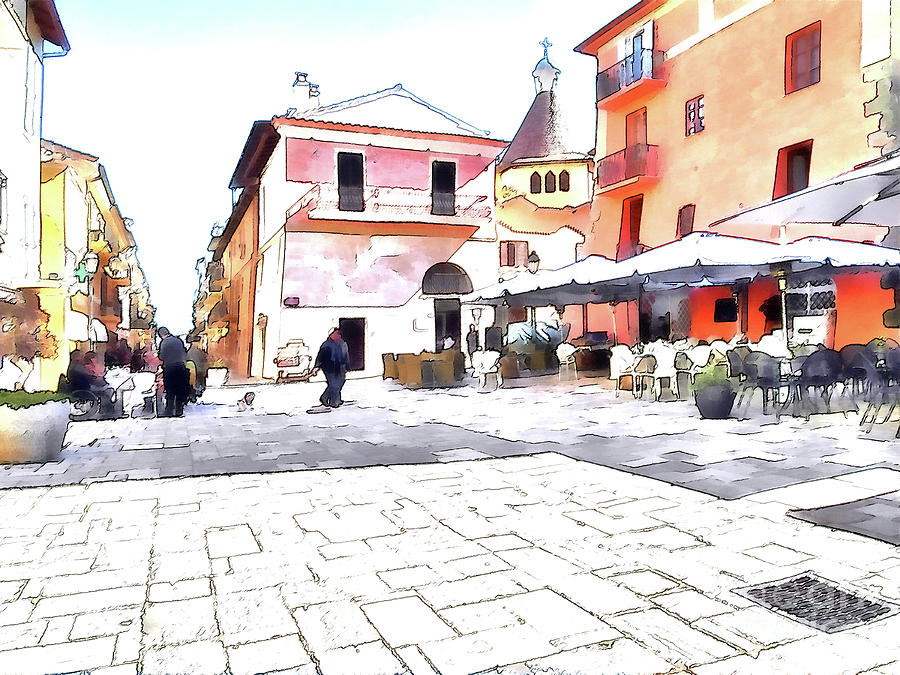 Italy Digital Art - San Felice Circeo Square by Giuseppe Cocco