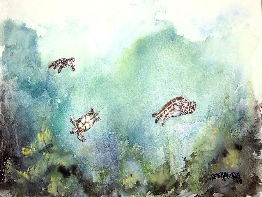 Turtle Painting - 3 Sea Turtles by Derek Mccrea