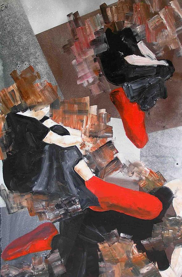 3 Siluets In Red Socks Painting by Evguenia Men