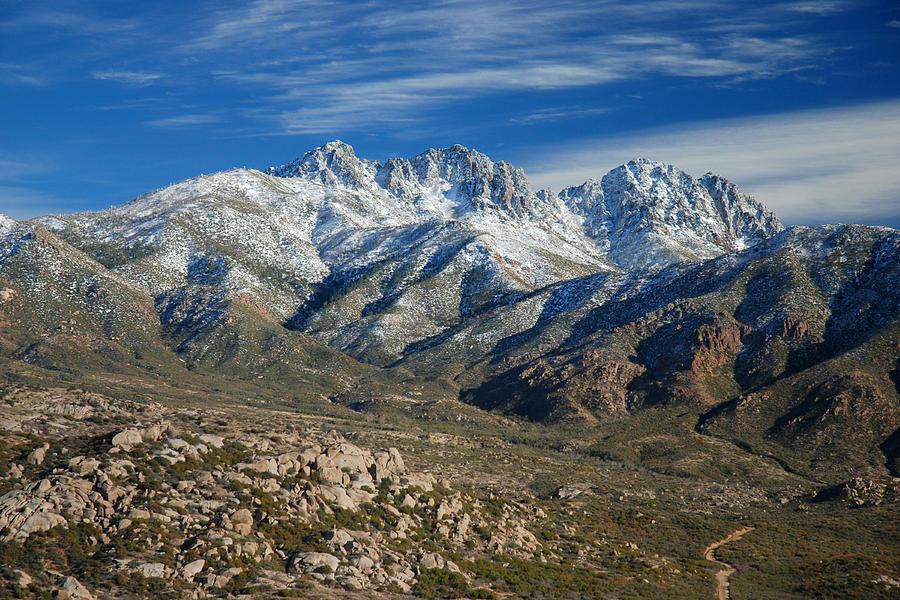 Mountain Photograph - Snowy Four Peaks Arizona by Brian Lockett