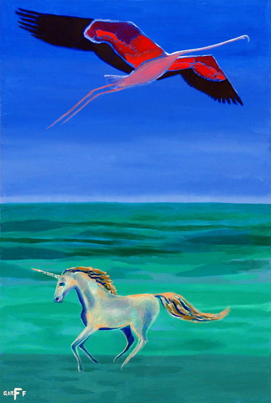 Flamingo Painting - Sons Of The Sun by Enrico Garff