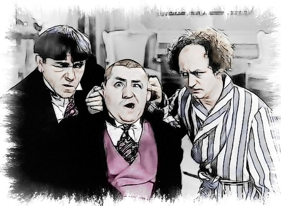 3 Stooges Painting - 3 Stooges Can You Hear Me Now by Dwayne  Graham