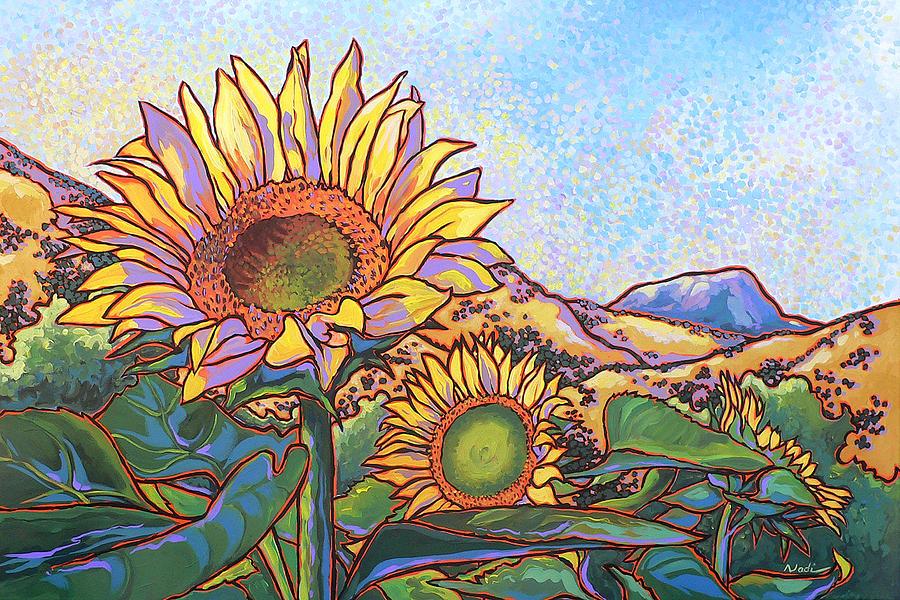 Sunflower Painting - 3 Sunflowers by Nadi Spencer