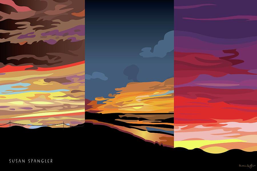 Sunset Digital Art - 3 Sunsets by Susan Spangler