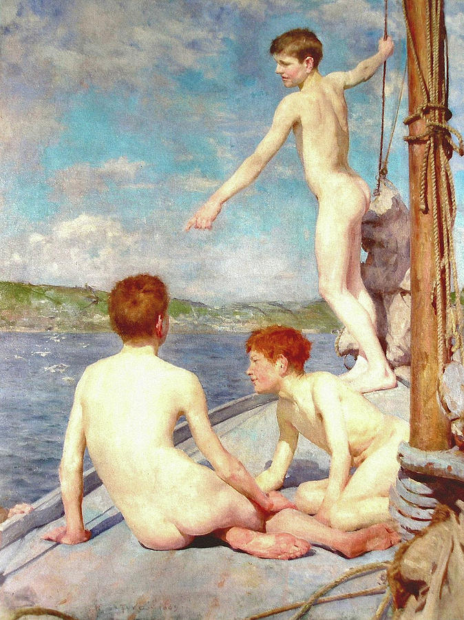Impressionism Painting - The Bathers by H Tuke