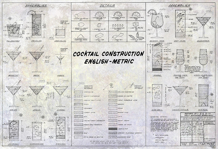 The cocktail construction blueprint photograph by jon neidert martini photograph the cocktail construction blueprint by jon neidert malvernweather Image collections