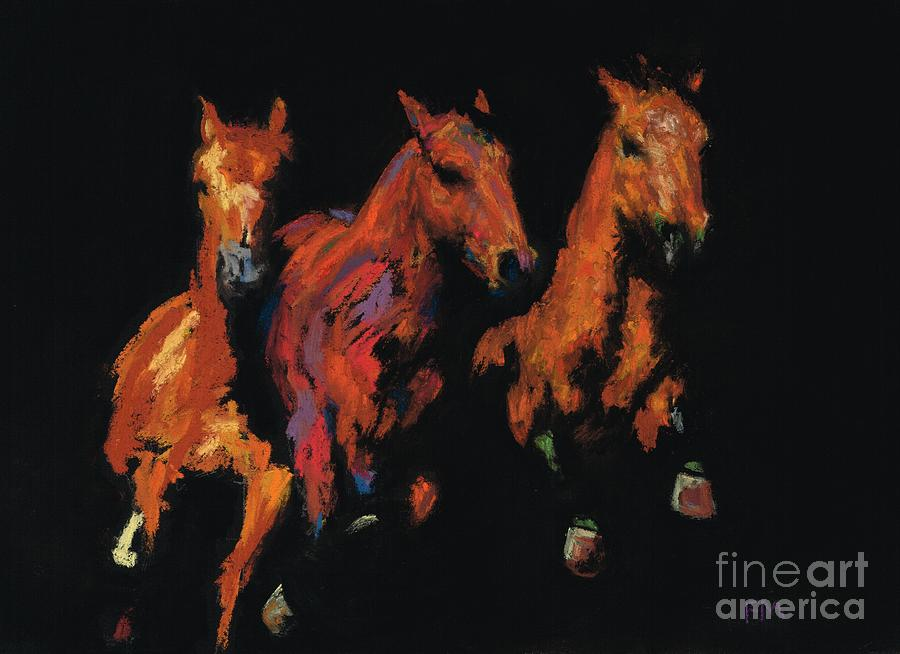 Horses Painting - The Competitive Edge by Frances Marino