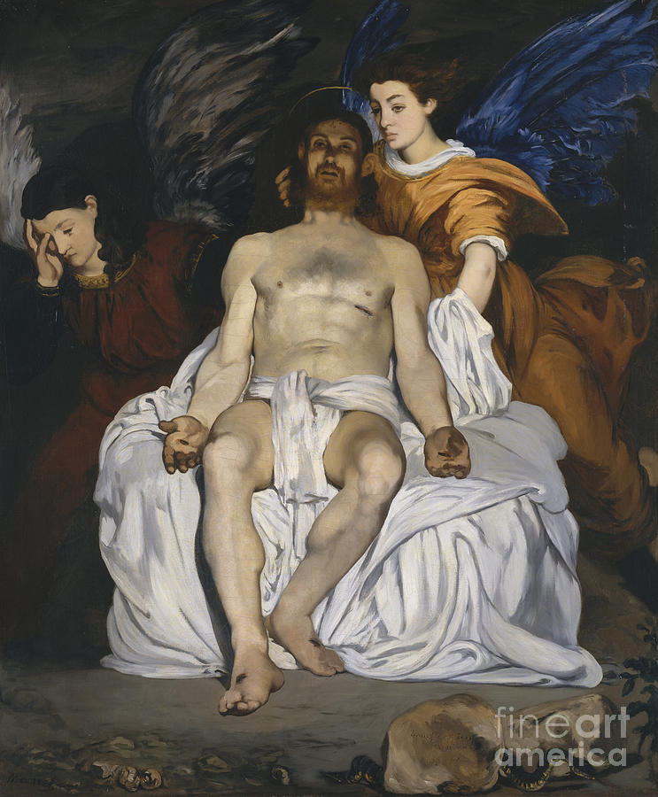 Manet Painting - The Dead Christ With Angels by Edouard Manet