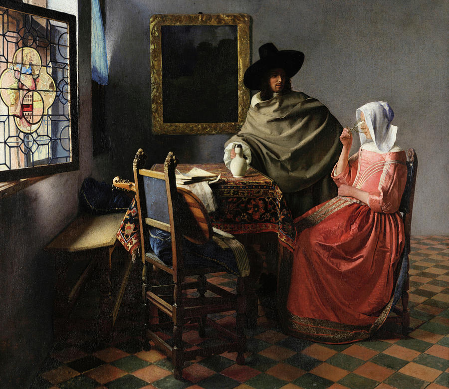 Glass Of Wine Painting - The Glass Of Wine by Johannes Vermeer