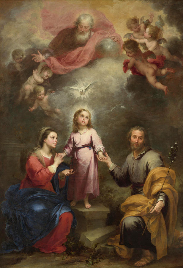Christian Painting - The Heavenly and Earthly Trinities by Bartolome Esteban Murillo