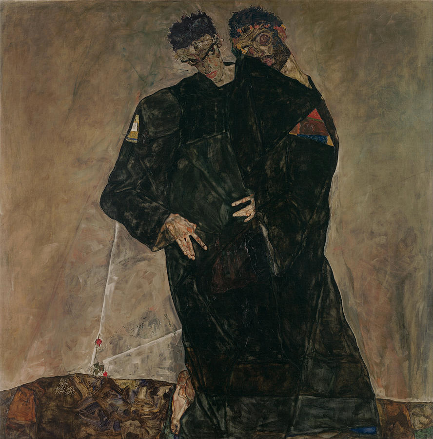 Schiele Photograph - The Hermits by Egon Schiele
