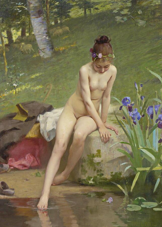 Paul Peel Painting - The Little Shepherdess by Paul Peel