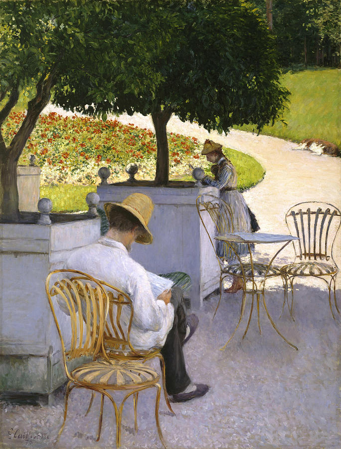 Gustave Caillebotte Painting - The Orange Trees by Gustave Caillebotte