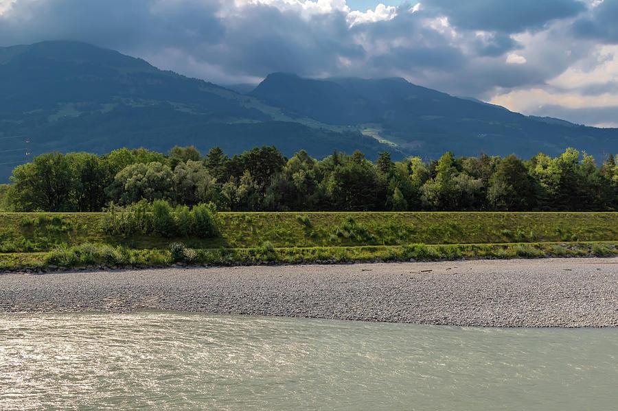 Bridge Photograph - The River Rhine Between Liechtenstien And Switzerland by Ben Gingell
