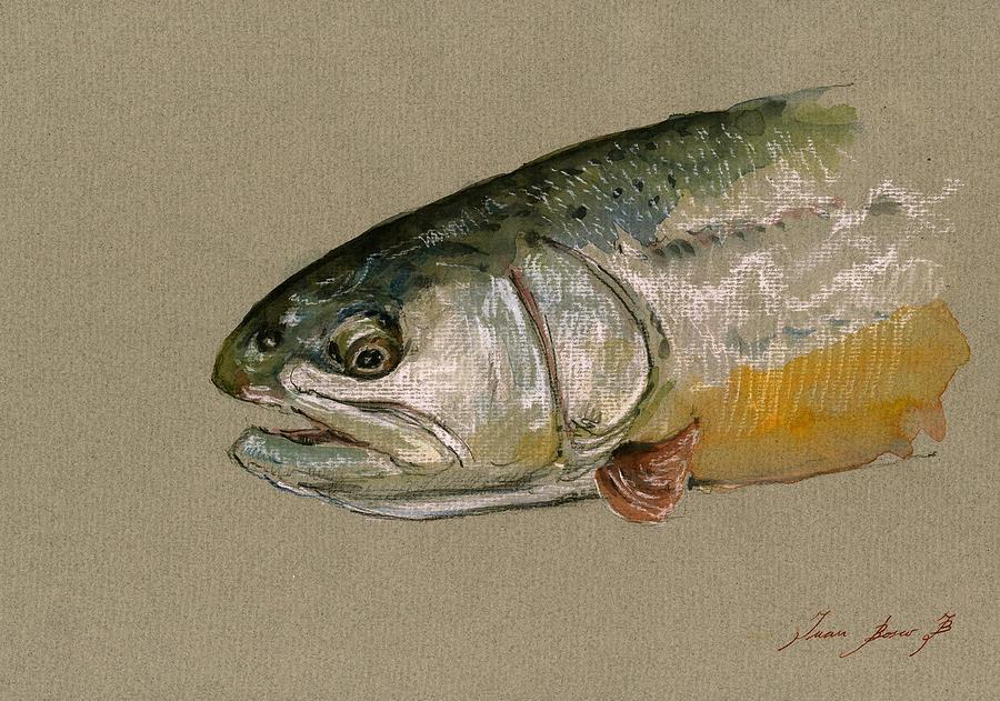 Trout Watercolor Painting - Trout watercolor painting by Juan  Bosco