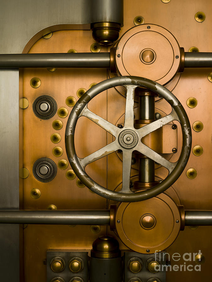 Architectural Photograph - Tumbler On A Vault Door by Adam Crowley