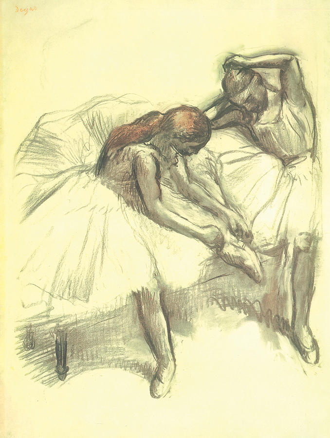 Two Dancers Drawing - Two Dancers by Edgar Degas