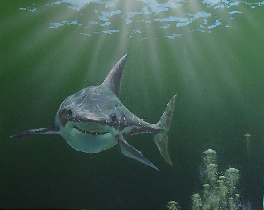 Shark Painting - Untitled 3 by Philip Fleischer