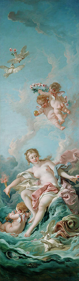 Venus Painting - Venus On The Waves by Francois Boucher