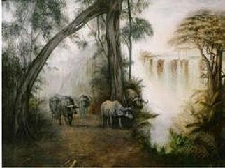 Wildlife Painting - Victoria Falls by Riek  Jonker
