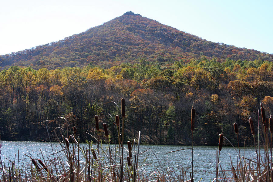View of Abbott Lake and Sharp Top in autumn by Emanuel Tanjala