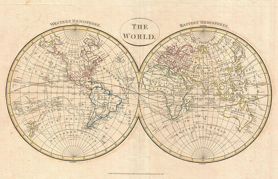 Vintage Map Of World.Vintage Map Of The World Drawing By Adam Shaw