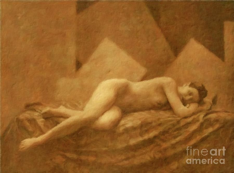 Vintage erotic art painting consider