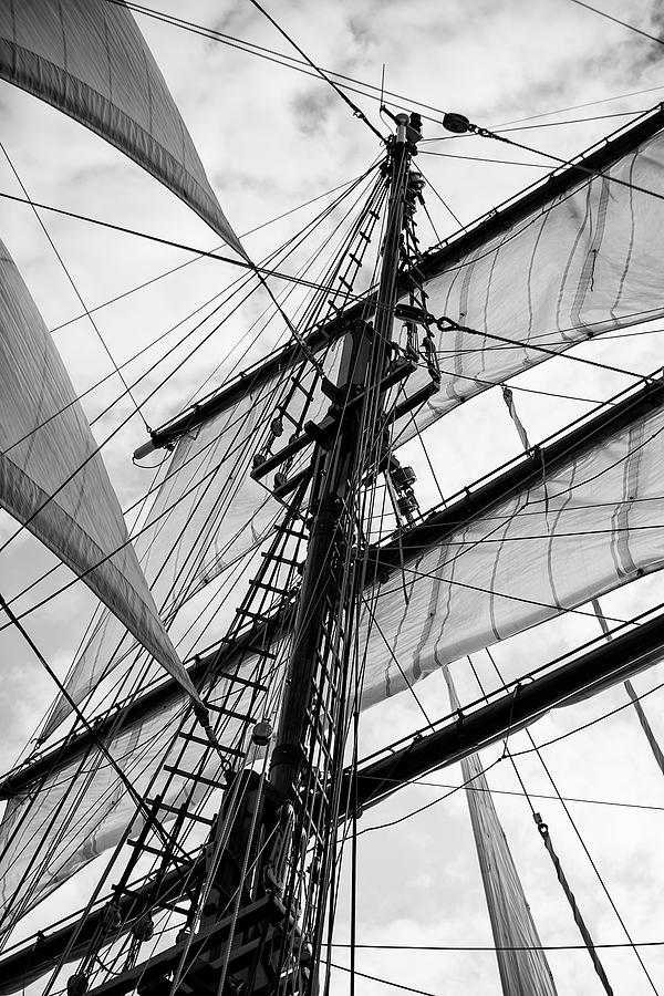 Vintage Style Picture Of Beautiful Sail Boat Details  Rope, Hull by Matthew  Gibson