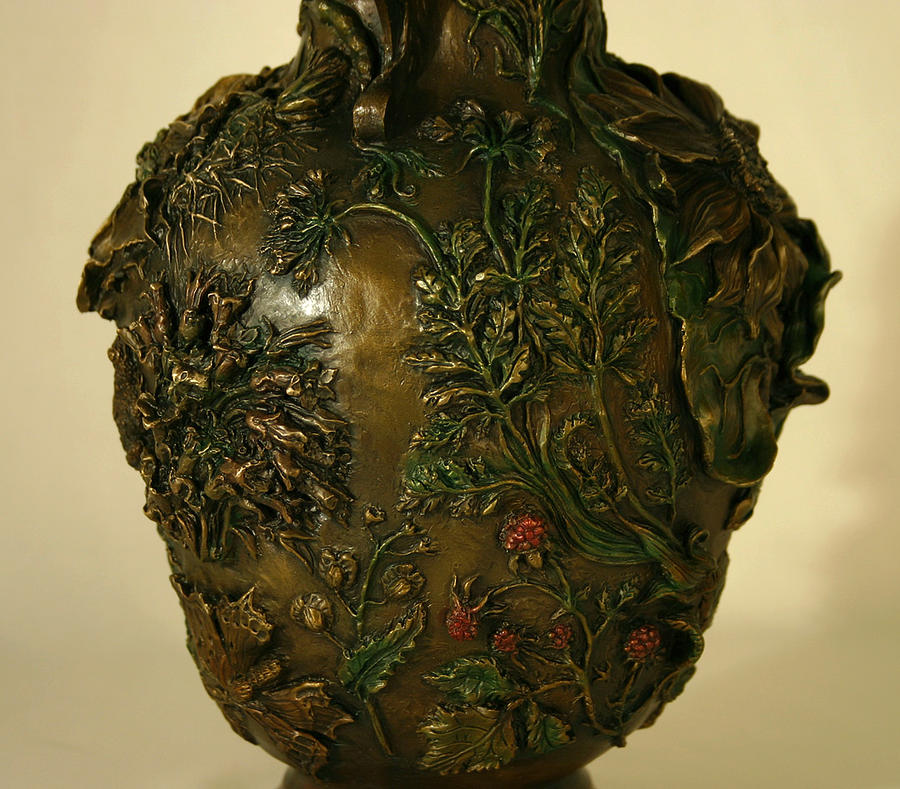 Floral Sculpture - Wildflower Vase Detail by Dawn Senior-Trask