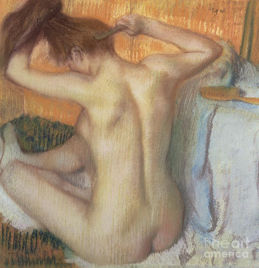 Back; Comb; Brush; Hair; Nude; Impressionist; Female; Se Coiffer; Peigne; Dos; Coiffant Pastel - Woman Combing Her Hair by Edgar Degas