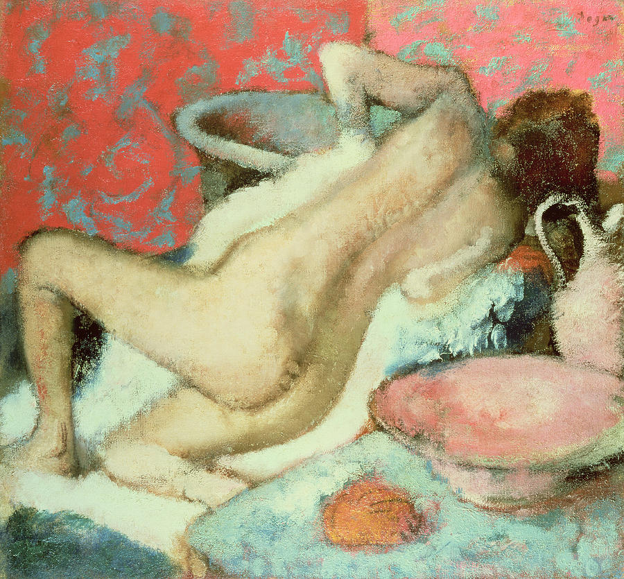 Nude; Impressionist; Female; Bathing; Femme Se Sechant; Secher; Toilette Painting - Woman Drying Herself  by Edgar Degas