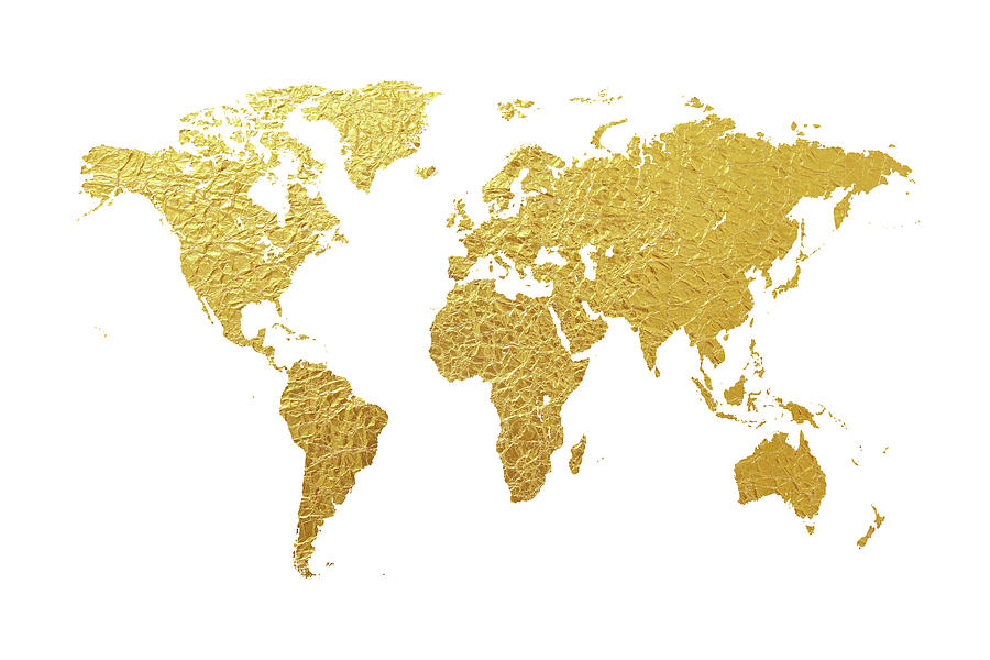 World Map Digital Art - World Map Gold Foil by Michael Tompsett