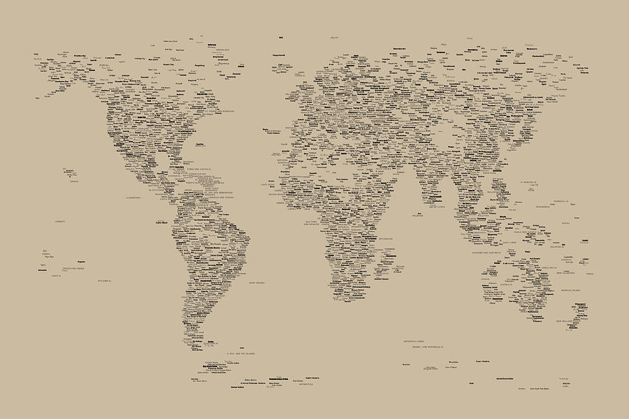 Map Of The World Digital Art - World Map of Cities by Michael Tompsett