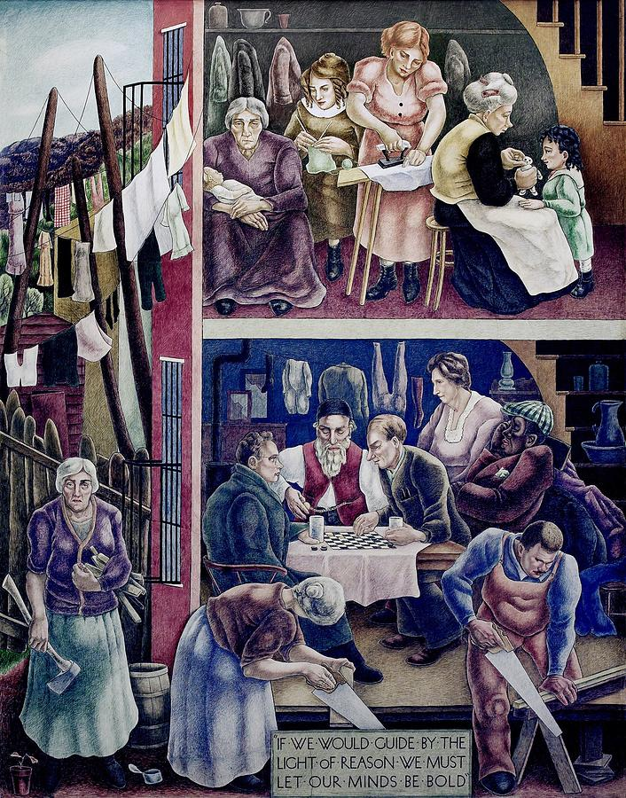 History Photograph - Wpa Mural. Society Freed Through by Everett