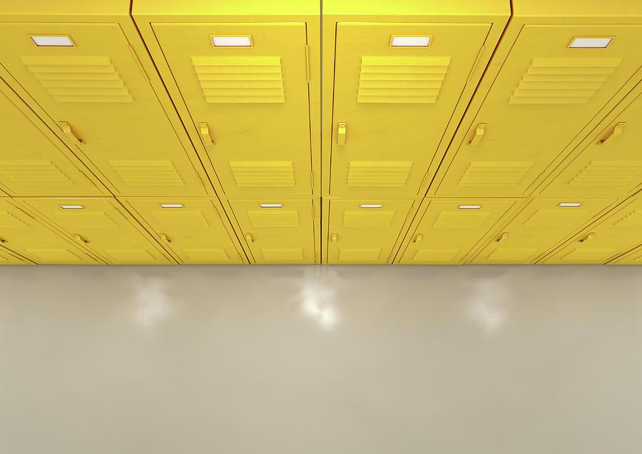 Locker Digital Art - Yellow School Lockers 3 by Allan Swart