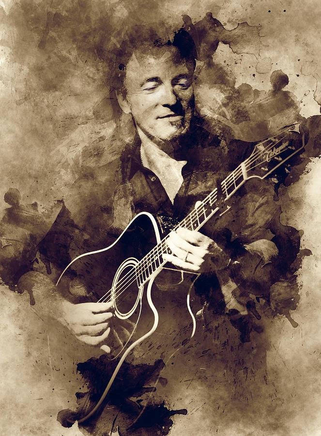 Bruce Springsteen Digital Art - Bruce Springsteen by Lilia Kosvintseva
