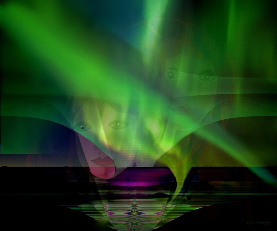 Face Digital Art - 308 - Aurora Australis   by Irmgard Schoendorf Welch