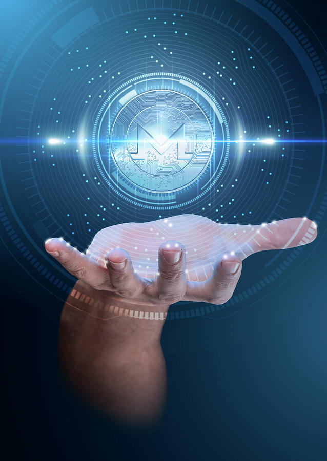 Hand Digital Art - Hand With Cryptocurrency Hologram by Allan Swart