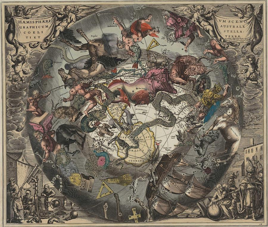 Celestial Map- Old Map - Vintage Art Wall - World Map - Circa 1600