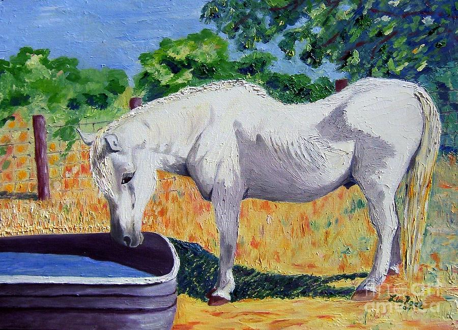 Old Horse Painting - 34 Year Old Elfid by Lisa Rose Musselwhite