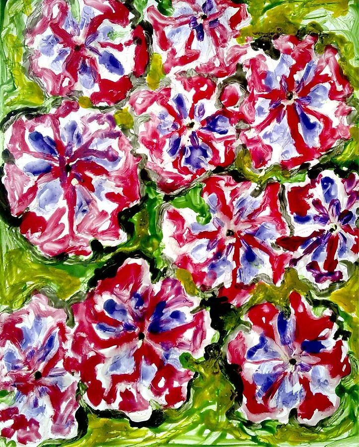 Abstract Flowers Painting - Divine Flowers by Baljit Chadha