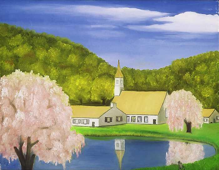 Pink Trees Painting by Sam  Cole