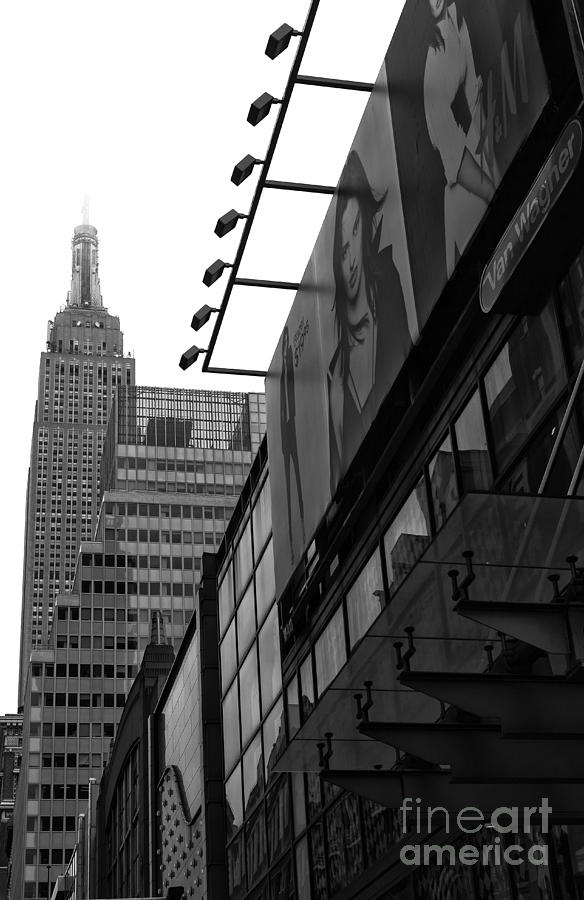 Empire State Building Photograph - 34th Street Skyline Mono by John Rizzuto