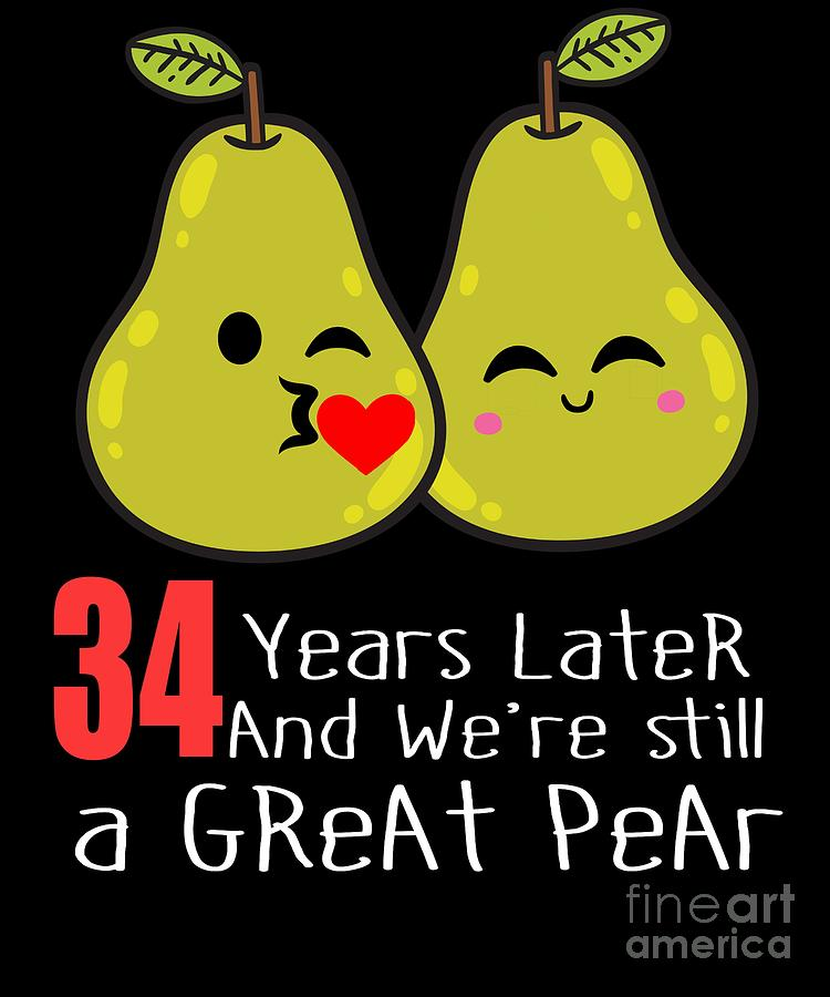 34th Wedding Anniversary Funny Pear Couple Gift