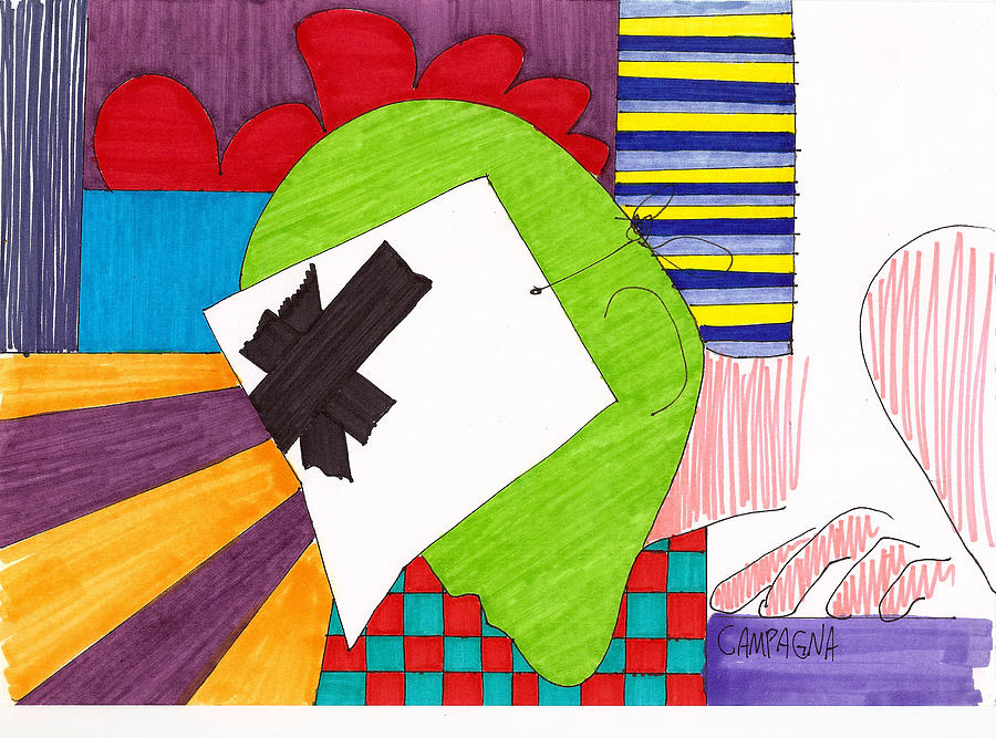 Marker Drawing - Untitled by Teddy Campagna