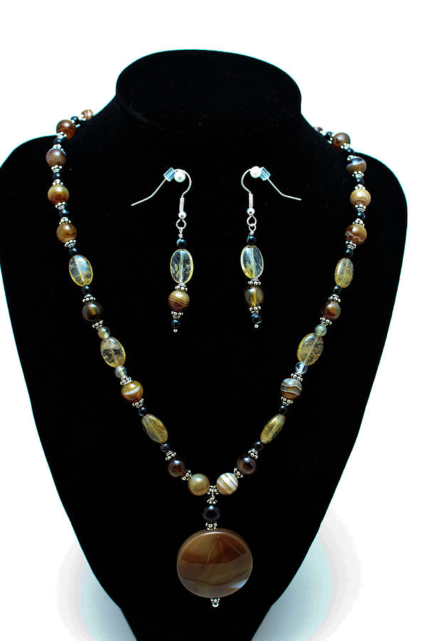Jewelry Jewelry - 3509 Amber Striped Onyx Set by Teresa Mucha