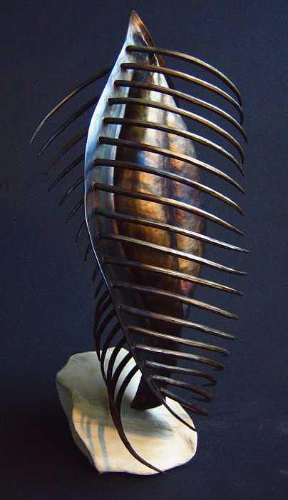 Standing Ribbed Vessel Sculpture by Todd Malenke