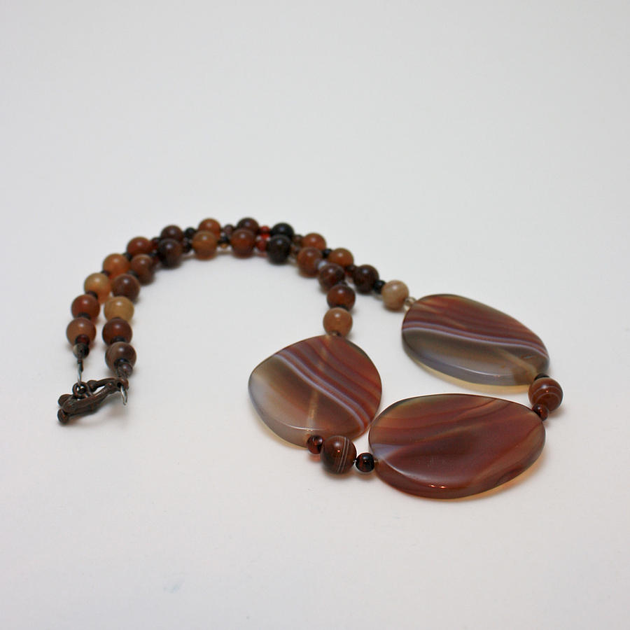 Original Jewelry - 3543 Coffee Vein Agate Necklace by Teresa Mucha