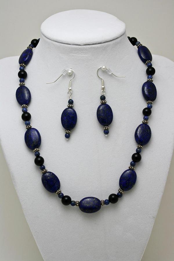 Handmade Jewelry - 3555 Lapis Lazuli Necklace And Earring Set by Teresa Mucha