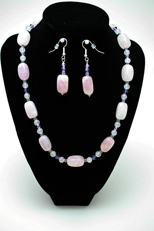 Jewelry Jewelry - 3560 Rose Quartz Necklace And Earrings Set by Teresa Mucha